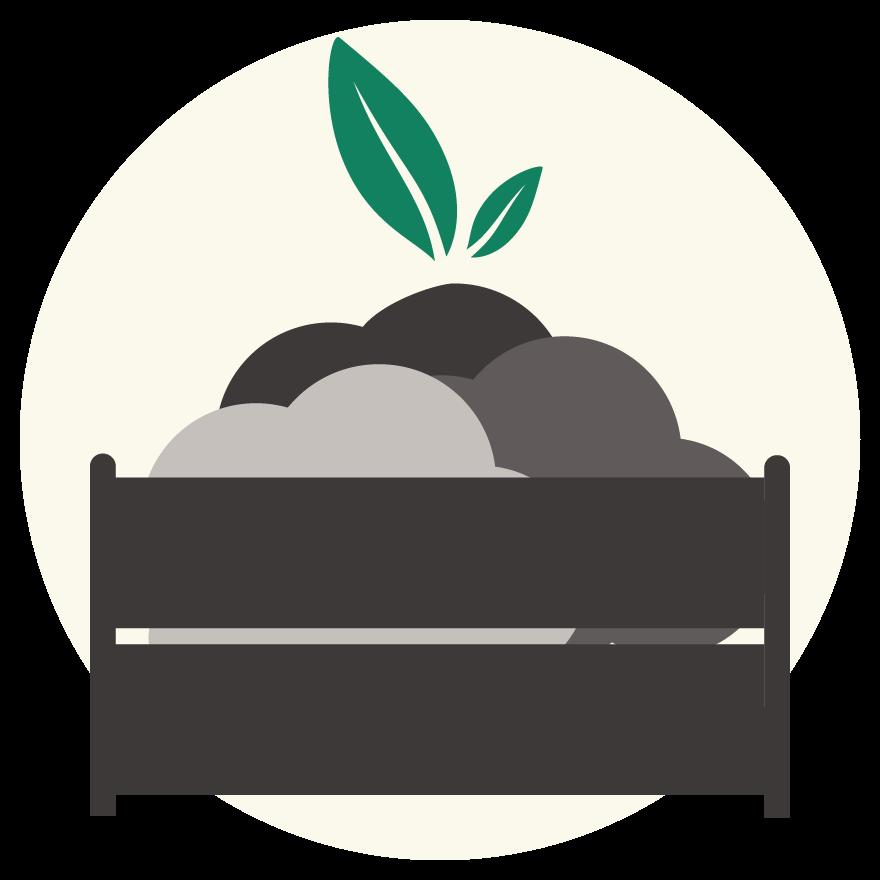 Mulch, Soil Amendments & Plants in a wooden box